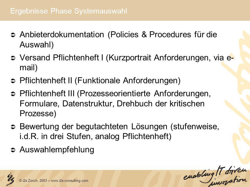 © i2s Zürich, 2003 – www.i2s-consulting.com Ergebnisse Phase Systemauswahl Anbieterdokumentation (Policies & Procedures für die Auswahl) Versand Pflic