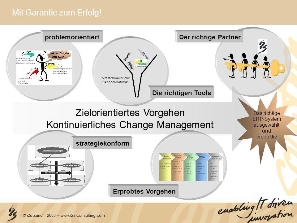 Zielorientiertes Vorgehen Kontinuierliches Change Management Das richtige ERP-System ausgewählt und produktiv Mit Garantie zum Erfolg! problemorientie