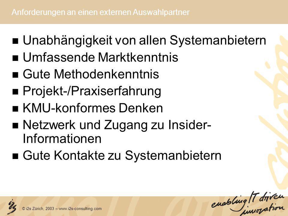 © i2s Zürich, 2003 – www.i2s-consulting.com Anforderungen an einen externen Auswahlpartner Unabhängigkeit von allen Systemanbietern Umfassende Marktke