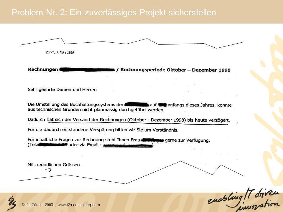 © i2s Zürich, 2003 – www.i2s-consulting.com Problem Nr. 2: Ein zuverlässiges Projekt sicherstellen