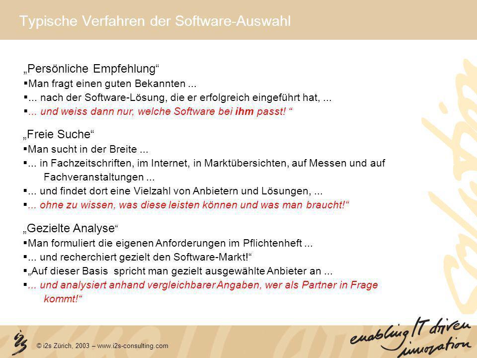 © i2s Zürich, 2003 – www.i2s-consulting.com Typische Verfahren der Software-Auswahl Freie Suche Man sucht in der Breite...... in Fachzeitschriften, im