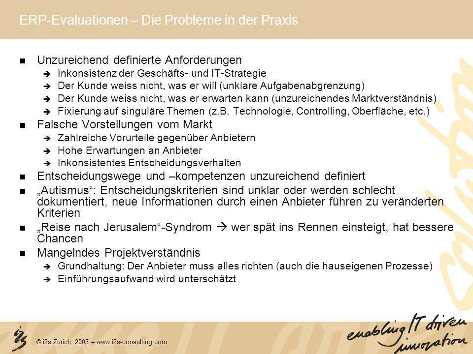 © i2s Zürich, 2003 – www.i2s-consulting.com ERP-Evaluationen – Die Probleme in der Praxis Unzureichend definierte Anforderungen Inkonsistenz der Gesch