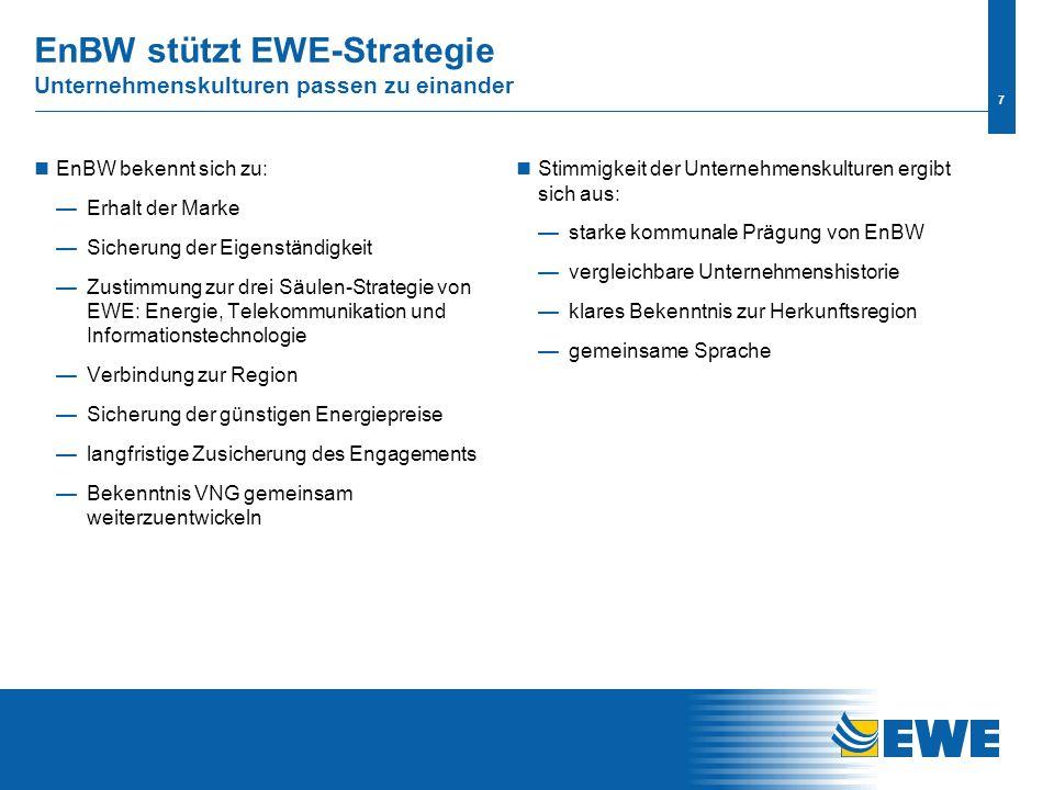 6 Versorgungssicherheit/ -stabilität Energiewirtschaftliche Kompetenz Gemeinsame strategische Ausrichtung Gemeinsames Wachstumspotential Auswahlkriterien Voraussetzungen Sicherung der Eigenständigkeit von EWE Wahrung der günstigen Bezugs- und Absatzpreise Übereinstimmung der Unternehmenskulturen Erhalt der Marke EWE Kartellrechtliche Unbedenklichkeit Klare Kriterien für die Partnersuche Voraussetzungen und Auswahlkriterien