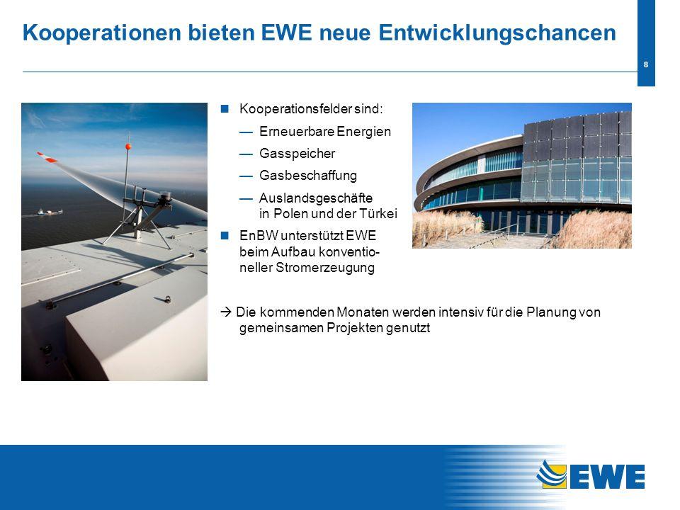 7 EnBW stützt EWE-Strategie Unternehmenskulturen passen zu einander EnBW bekennt sich zu: Erhalt der Marke Sicherung der Eigenständigkeit Zustimmung z