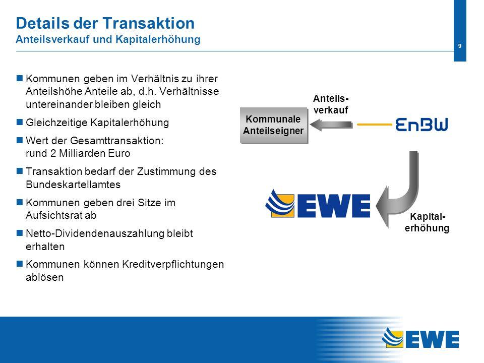 8 Kooperationen bieten EWE neue Entwicklungschancen Kooperationsfelder sind: Erneuerbare Energien Gasspeicher Gasbeschaffung Auslandsgeschäfte in Polen und der Türkei EnBW unterstützt EWE beim Aufbau konventio- neller Stromerzeugung Die kommenden Monaten werden intensiv für die Planung von gemeinsamen Projekten genutzt