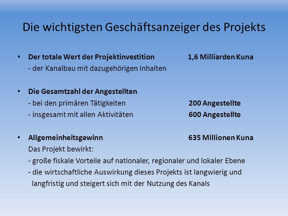 Die wichtigsten Geschäftsanzeiger des Projekts Der totale Wert der Projektinvestition 1,6 Milliarden Kuna - der Kanalbau mit dazugehörigen Inhalten Di