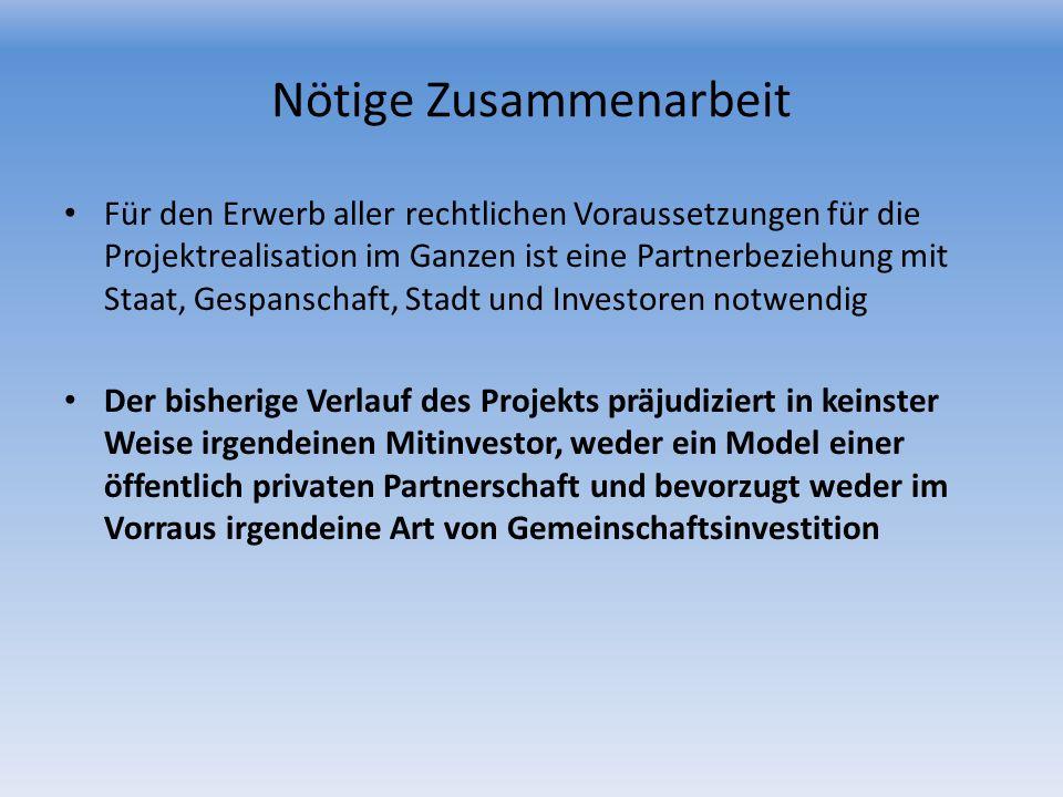 Nötige Zusammenarbeit Für den Erwerb aller rechtlichen Voraussetzungen für die Projektrealisation im Ganzen ist eine Partnerbeziehung mit Staat, Gespa