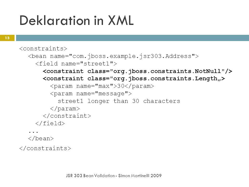 Deklaration in XML JSR 303 Bean Validation - Simon Martinelli 2009 13 30 street1 longer than 30 characters...