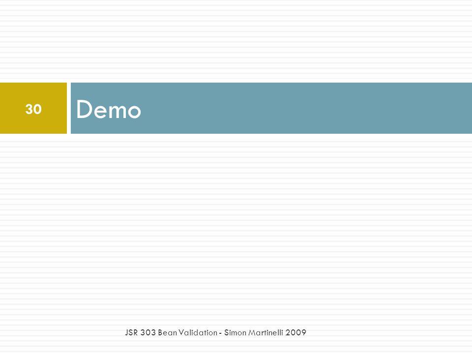 Demo 30 JSR 303 Bean Validation - Simon Martinelli 2009