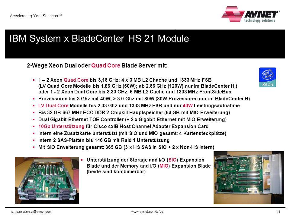www.avnet.com/ts/de Accelerating Your Success TM name.presenter@avnet.com11 2-Wege Xeon Dual oder Quad Core Blade Server mit: 1 – 2 Xeon Quad Core bis 3,16 GHz; 4 x 3 MB L2 Chache und 1333 MHz FSB (LV Quad Core Modelle bis 1,86 GHz (50W); ab 2,66 GHz (120W) nur im BladeCenter H ) oder 1 - 2 Xeon Dual Core bis 3.33 GHz, 6 MB L2 Cache und 1333 MHz FrontSideBus Prozessoren bis 3 Ghz mit 40W; > 3.0 Ghz mit 80W (80W Prozessoren nur im BladeCenter H) LV Dual Core Modelle bis 2,33 Ghz und 1333 MHz FSB und nur 40W Leistungsaufnahme Bis 32 GB 667 MHz ECC DDR 2 Chipkill Hauptspeicher (64 GB mit MIO Erweiterung) Dual Gigabit Ethernet TOE Controller (+ 2 x Gigabit Ethernet mit MIO Erweiterung) 10Gb Unterstützung für Cisco 4xIB Host Channel Adapter Expansion Card Intern eine Zusatzkarte unterstützt (mit SIO und MIO gesamt: 4 Kartensteckplätze) Intern 2 SAS-Platten bis 146 GB mit Raid 1 Unterstützung Mit SIO Erweiterung gesamt: 365 GB (3 x HS SAS in SIO + 2 x Non-HS intern) Unterstützung der Storage and I/O (SIO) Expansion Blade und der Memory and I/O (MIO) Expansion Blade (beide sind kombinierbar) IBM System x BladeCenter HS 21 Module