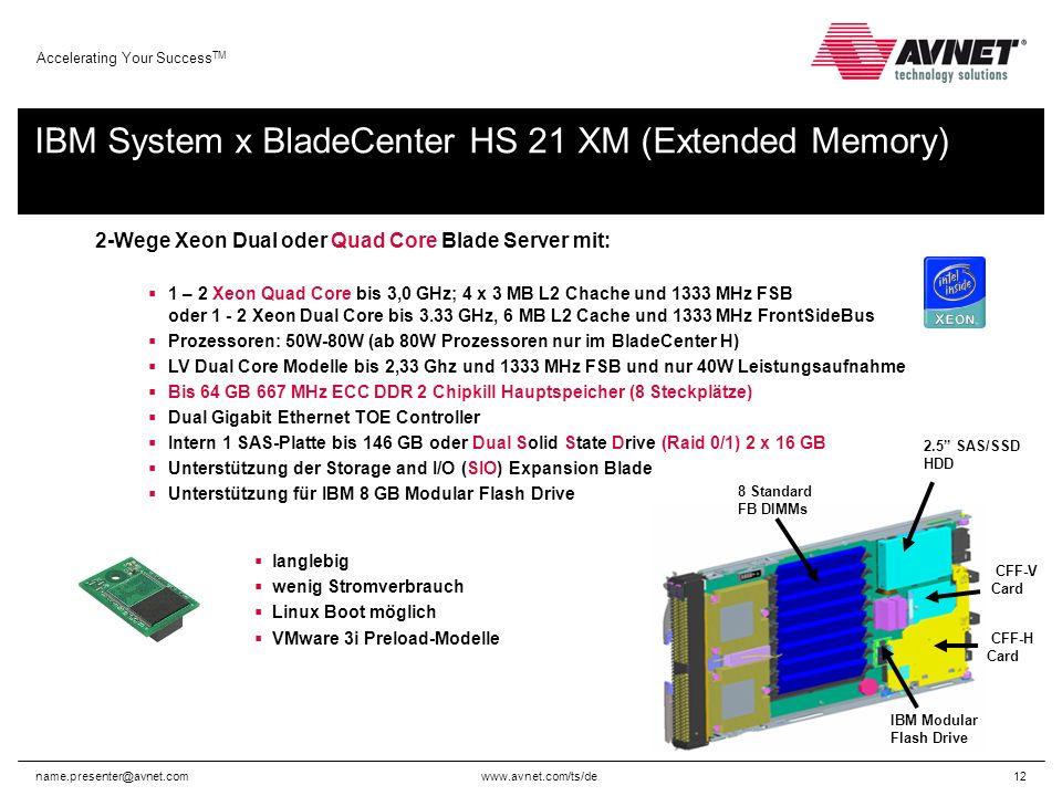 www.avnet.com/ts/de Accelerating Your Success TM name.presenter@avnet.com12 2-Wege Xeon Dual oder Quad Core Blade Server mit: 1 – 2 Xeon Quad Core bis 3,0 GHz; 4 x 3 MB L2 Chache und 1333 MHz FSB oder 1 - 2 Xeon Dual Core bis 3.33 GHz, 6 MB L2 Cache und 1333 MHz FrontSideBus Prozessoren: 50W-80W (ab 80W Prozessoren nur im BladeCenter H) LV Dual Core Modelle bis 2,33 Ghz und 1333 MHz FSB und nur 40W Leistungsaufnahme Bis 64 GB 667 MHz ECC DDR 2 Chipkill Hauptspeicher (8 Steckplätze) Dual Gigabit Ethernet TOE Controller Intern 1 SAS-Platte bis 146 GB oder Dual Solid State Drive (Raid 0/1) 2 x 16 GB Unterstützung der Storage and I/O (SIO) Expansion Blade Unterstützung für IBM 8 GB Modular Flash Drive langlebig wenig Stromverbrauch Linux Boot möglich VMware 3i Preload-Modelle 8 Standard FB DIMMs IBM Modular Flash Drive 2.5 SAS/SSD HDD CFF-V Card CFF-H Card IBM System x BladeCenter HS 21 XM (Extended Memory)