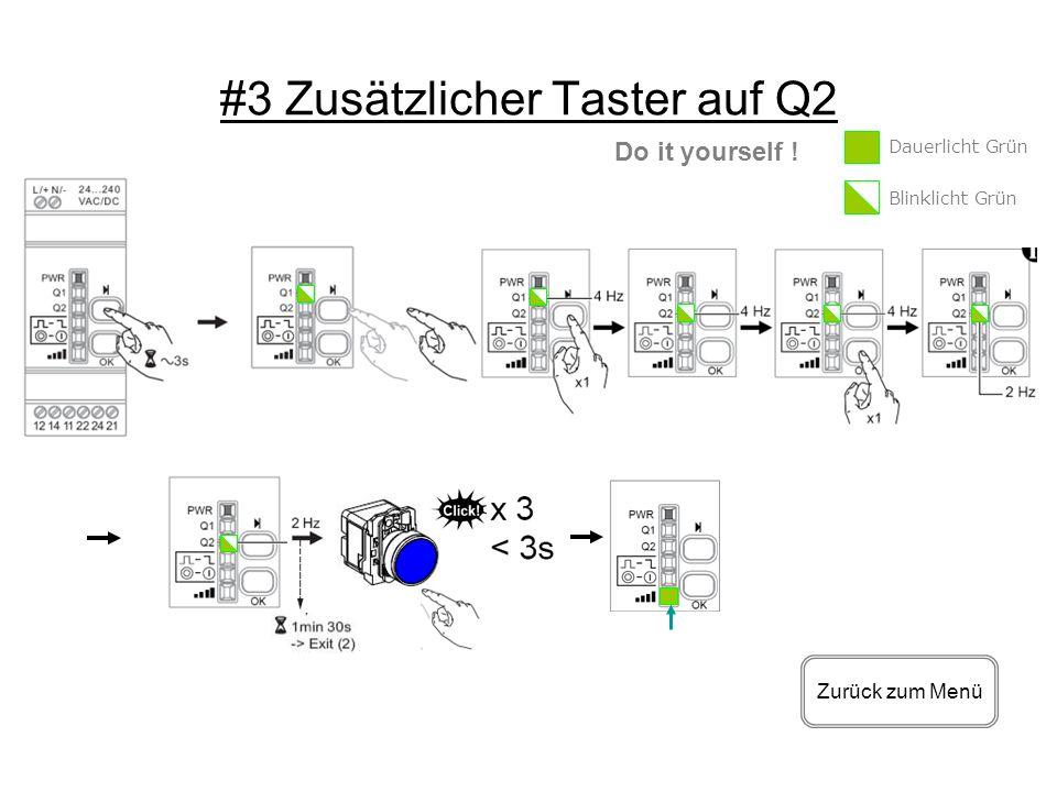 #3 Zusätzlicher Taster auf Q2 Zurück zum Menü Do it yourself ! Dauerlicht Grün Blinklicht Grün