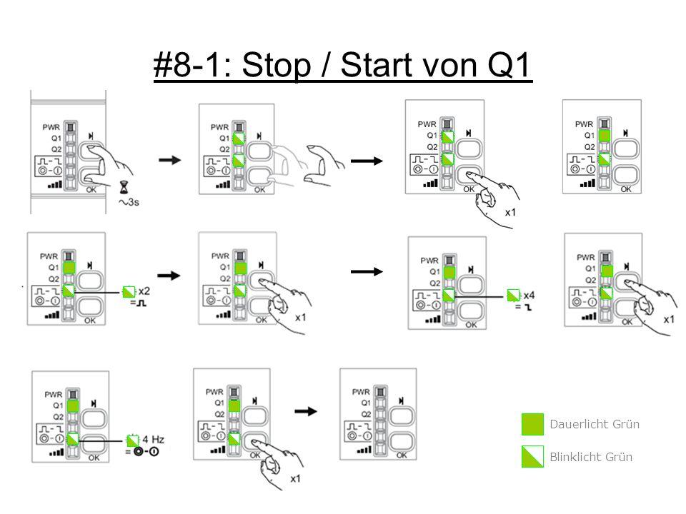 #8-1: Stop / Start von Q1 Dauerlicht Grün Blinklicht Grün
