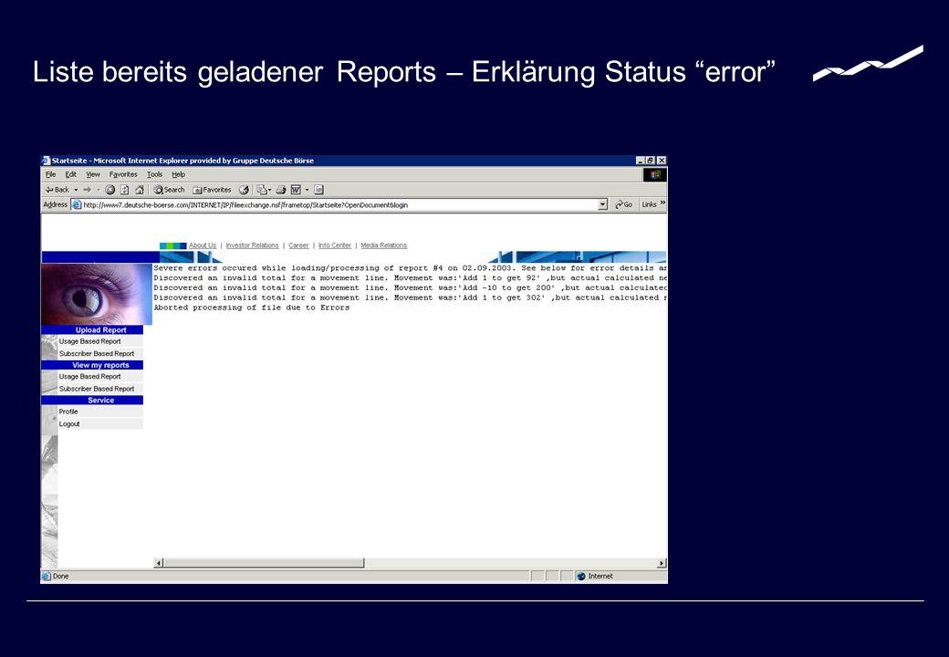 Liste bereits geladener Reports – Erklärung Status error