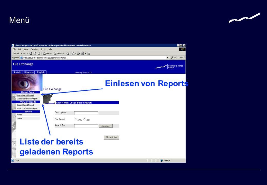 Text als Dateiname Datei laden Laden eines Reports