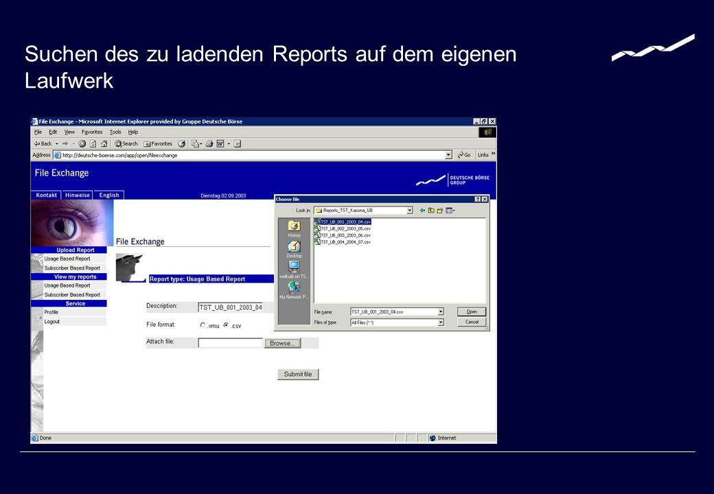 Submit file drücken Aktivieren des Dateitransfers durch submit file