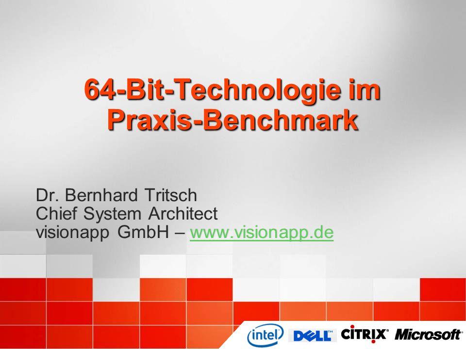 Pragmatische Benchmarks Der Big Iron Test von 2003 Server-Hardware mit 8 XEON 1,6 GHz CPUs, 1 MB 2nd Level Cache und 8 GB RAM 20 Testclients Anwendungen Notepad.exe mit ANSI Textdatei, 3 KB Adobe Acrobat Reader 6 mit Document, 8,3 MB Microsoft Word 2000 mit Dokument, 2,4 MB Ergebnis Einsatz von mehr als 2 bis 4 CPUs und mehr als 4 GB RAM ist für 32-Bit-Terminalserver selten sinnvoll