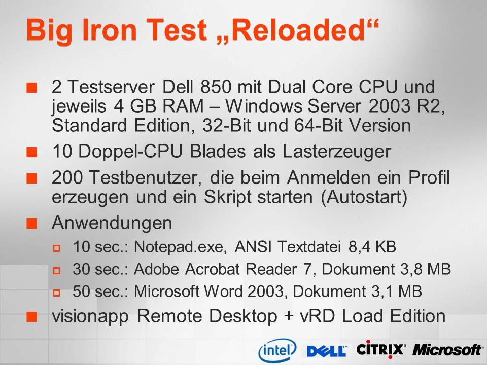 Big Iron Test Reloaded 2 Testserver Dell 850 mit Dual Core CPU und jeweils 4 GB RAM – Windows Server 2003 R2, Standard Edition, 32-Bit und 64-Bit Vers