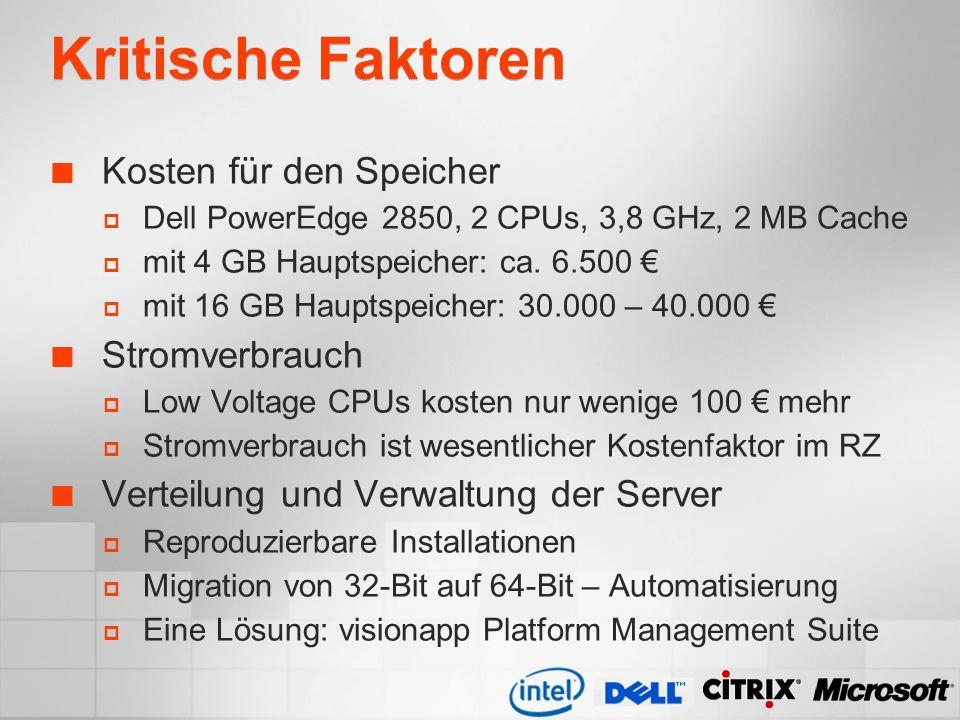 Kritische Faktoren Kosten für den Speicher Dell PowerEdge 2850, 2 CPUs, 3,8 GHz, 2 MB Cache mit 4 GB Hauptspeicher: ca. 6.500 mit 16 GB Hauptspeicher:
