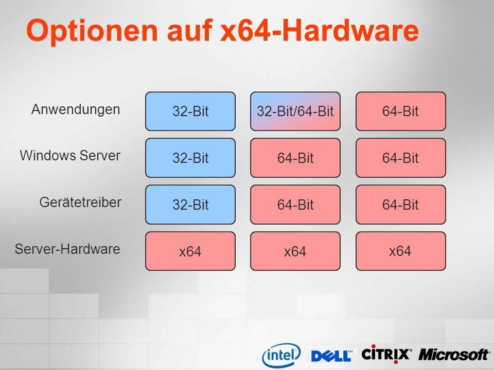 Optionen auf x64-Hardware Server-Hardware Gerätetreiber Windows Server Anwendungen 32-Bit32-Bit/64-Bit64-Bit 32-Bit 64-Bit x64 64-Bit x64