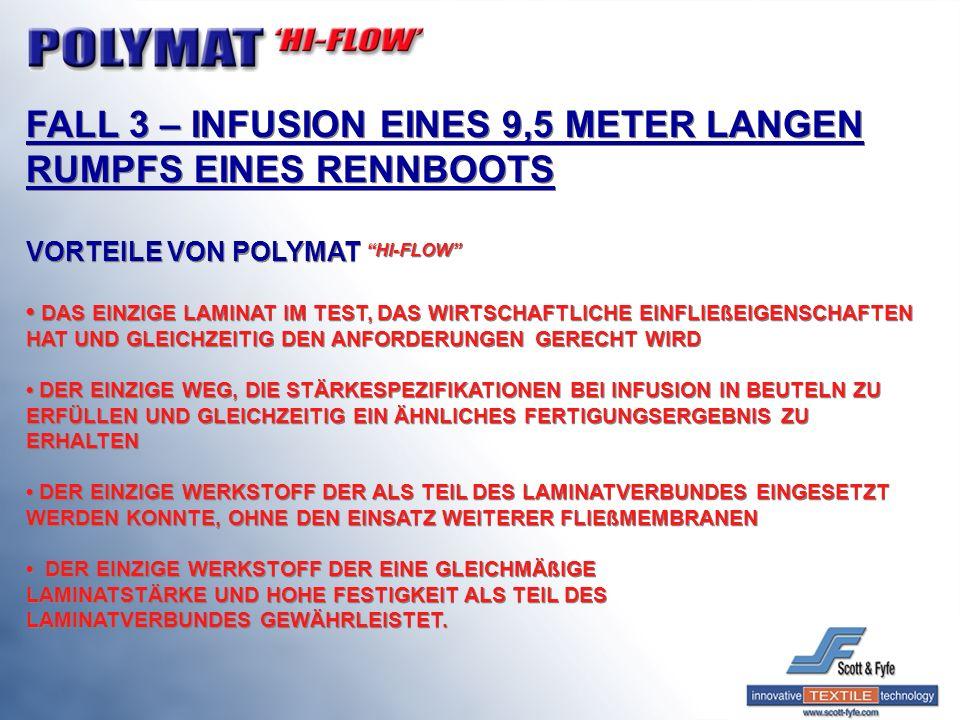 FALL 3 – INFUSION EINES 9,5 METER LANGEN RUMPFS EINES RENNBOOTS VORTEILE VON POLYMAT HI-FLOW DAS EINZIGE LAMINAT IM TEST, DAS WIRTSCHAFTLICHE EINFLIEß