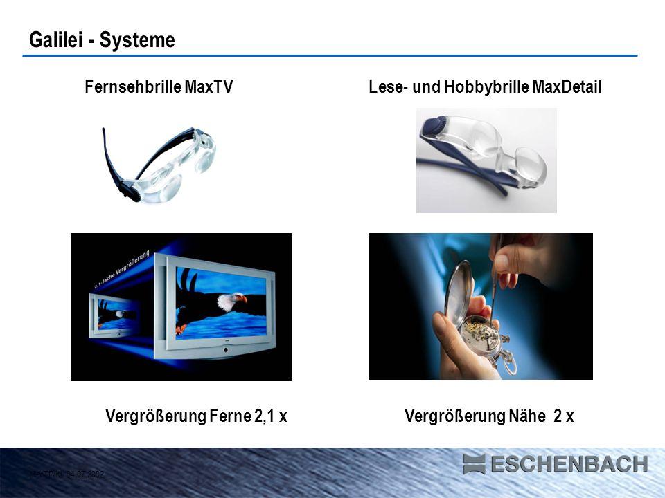 Galilei - Systeme M-VTP/KL 04.07.2002 Vergrößerung Ferne 2,1 x Fernsehbrille MaxTVLese- und Hobbybrille MaxDetail Vergrößerung Nähe 2 x