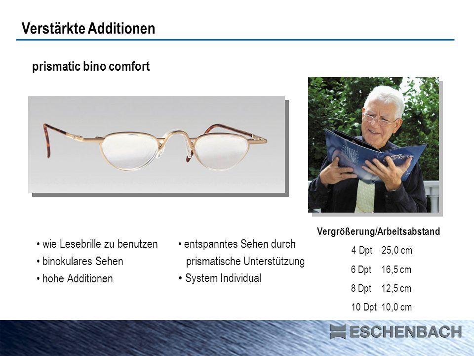 prismatic bino comfort Verstärkte Additionen wie Lesebrille zu benutzen binokulares Sehen hohe Additionen entspanntes Sehen durch prismatische Unterst