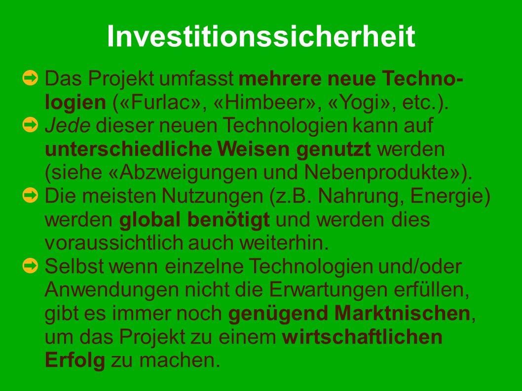 Investitionssicherheit Das Projekt umfasst mehrere neue Techno- logien («Furlac», «Himbeer», «Yogi», etc.).