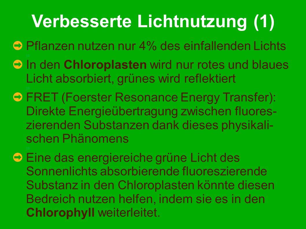 Verbesserte Lichtnutzung (1) Pflanzen nutzen nur 4% des einfallenden Lichts ja In den Chloroplasten wird nur rotes und blaues Licht absorbiert, grünes wird reflektiert ja FRET (Foerster Resonance Energy Transfer): Direkte Energieübertragung zwischen fluores- zierenden Substanzen dank dieses physikali- schen Phänomens ja Eine das energiereiche grüne Licht des Sonnenlichts absorbierende fluoreszierende Substanz in den Chloroplasten könnte diesen Bedreich nutzen helfen, indem sie es in den Chlorophyll weiterleitet.