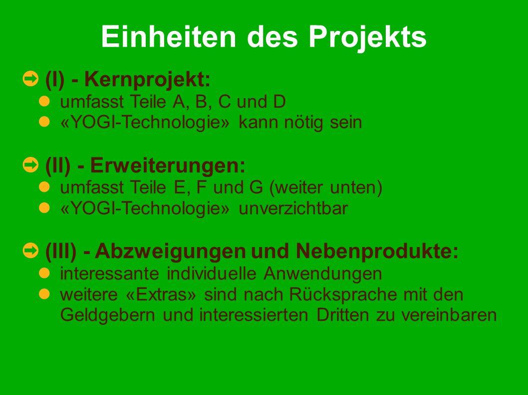 Einheiten des Projekts (I) - Kernprojekt: umfasst Teile A, B, C und D «YOGI-Technologie» kann nötig sein (II) - Erweiterungen: umfasst Teile E, F und G (weiter unten) «YOGI-Technologie» unverzichtbar (III) - Abzweigungen und Nebenprodukte: interessante individuelle Anwendungen weitere «Extras» sind nach Rücksprache mit den Geldgebern und interessierten Dritten zu vereinbaren