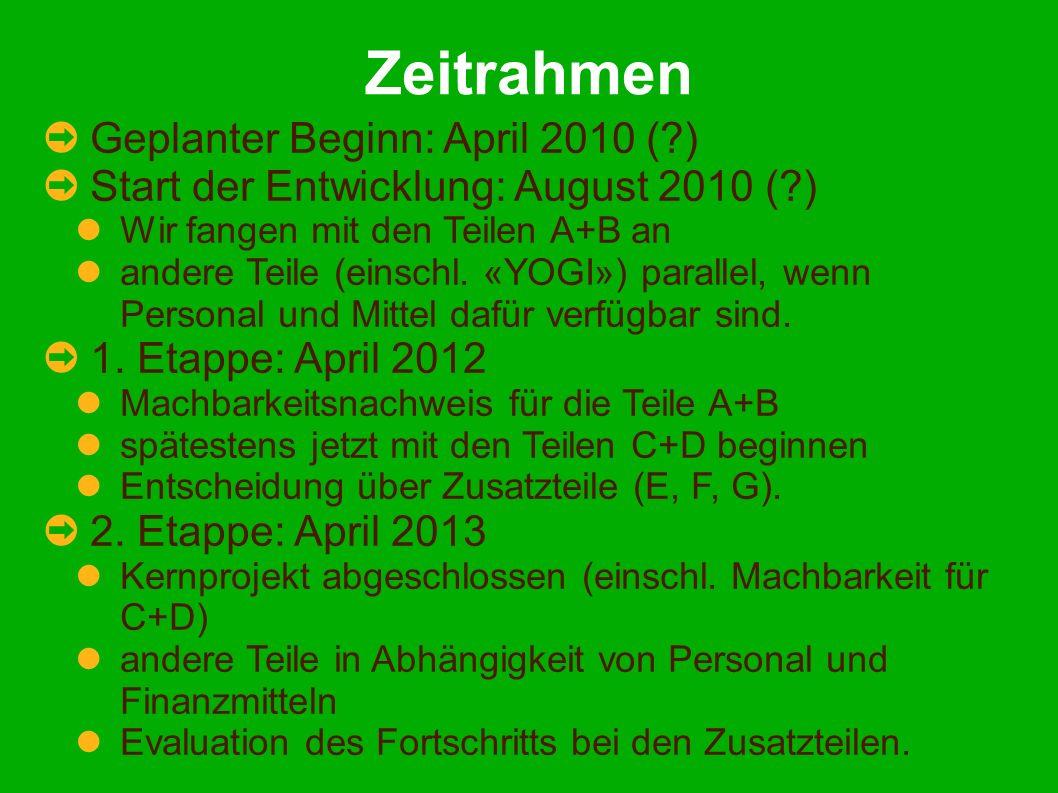 Zeitrahmen Geplanter Beginn: April 2010 (?) Start der Entwicklung: August 2010 (?) Wir fangen mit den Teilen A+B an andere Teile (einschl. «YOGI») par
