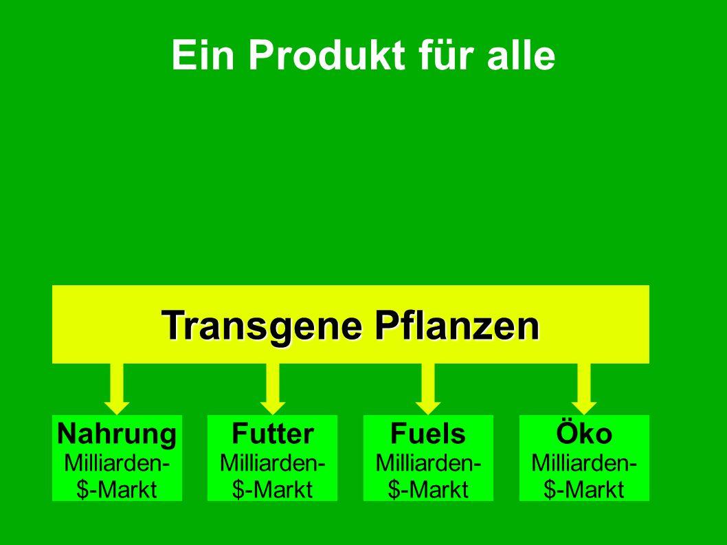 Ein Produkt für alle Transgene Pflanzen Nahrung Milliarden- $-Markt Futter Milliarden- $-Markt Fuels Milliarden- $-Markt Öko Milliarden- $-Markt