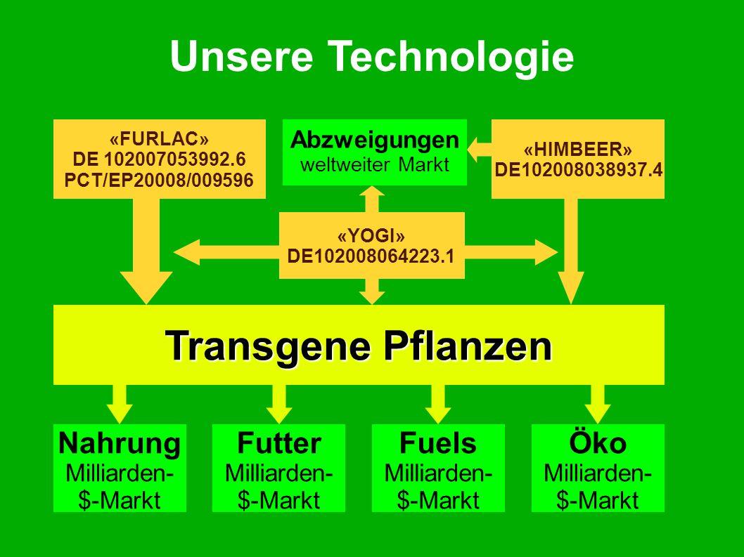 Unsere Technologie «FURLAC» DE 102007053992.6 PCT/EP20008/009596 «HIMBEER» DE102008038937.4 «YOGI» DE102008064223.1.