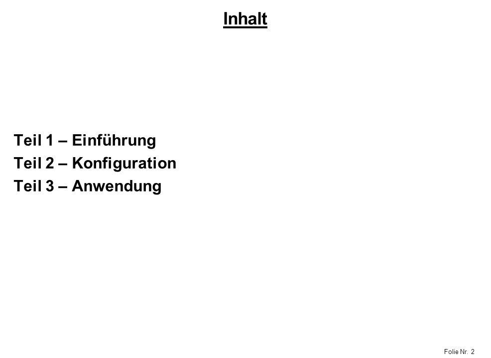 Folie Nr. 2 Inhalt Teil 1 – Einführung Teil 2 – Konfiguration Teil 3 – Anwendung