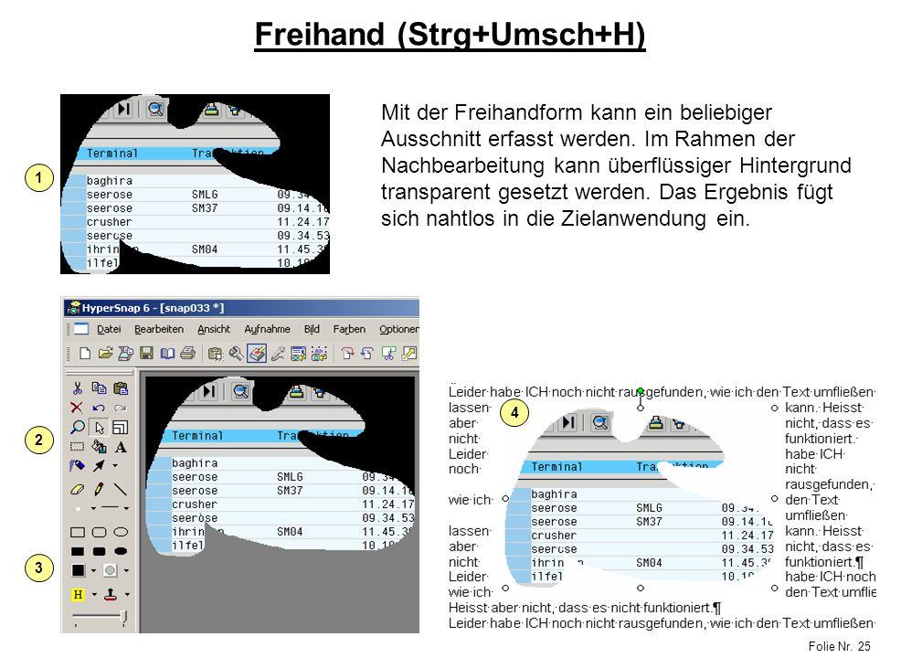 Folie Nr. 25 Freihand (Strg+Umsch+H) Mit der Freihandform kann ein beliebiger Ausschnitt erfasst werden. Im Rahmen der Nachbearbeitung kann überflüssi