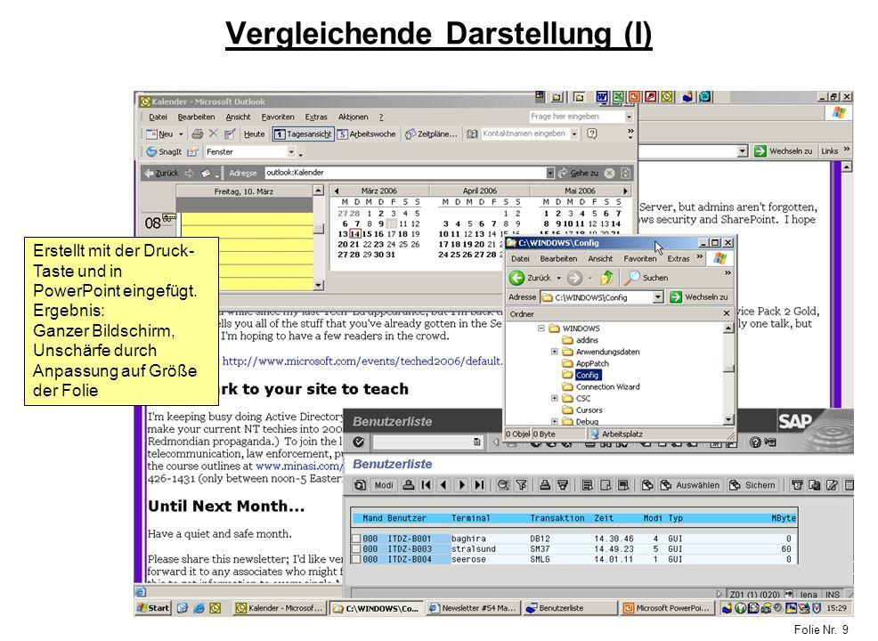 Folie Nr. 9 Vergleichende Darstellung (I) Erstellt mit der Druck- Taste und in PowerPoint eingefügt. Ergebnis: Ganzer Bildschirm, Unschärfe durch Anpa