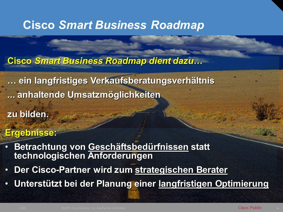 # Cisco Public © 2006 Cisco Systems, Inc. Alle Rechte vorbehalten. 2006 Cisco Smart Business Roadmap Ergebnisse: Betrachtung von Geschäftsbedürfnissen