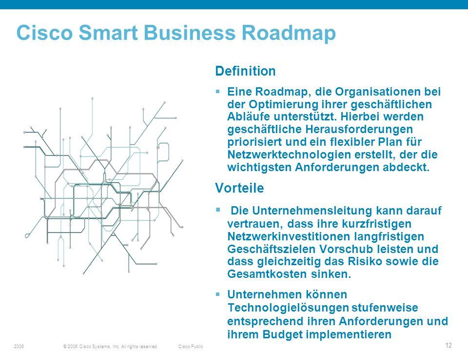 © 2006 Cisco Systems, Inc. All rights reserved.Cisco Public2006 12 Cisco Smart Business Roadmap Definition Eine Roadmap, die Organisationen bei der Op