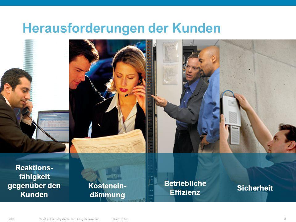 © 2006 Cisco Systems, Inc. All rights reserved.Cisco Public2006 6 Herausforderungen der Kunden Source: Global Cisco Focus Groups, April 2005 Sicherhei