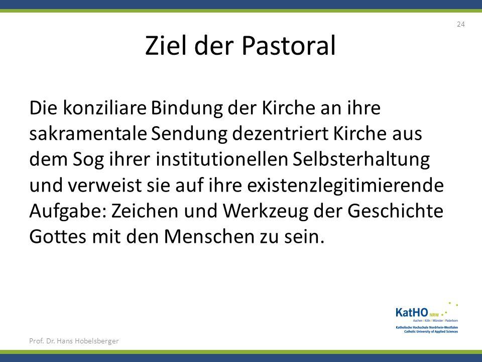 Ziel der Pastoral Prof. Dr. Hans Hobelsberger 24 Die konziliare Bindung der Kirche an ihre sakramentale Sendung dezentriert Kirche aus dem Sog ihrer i