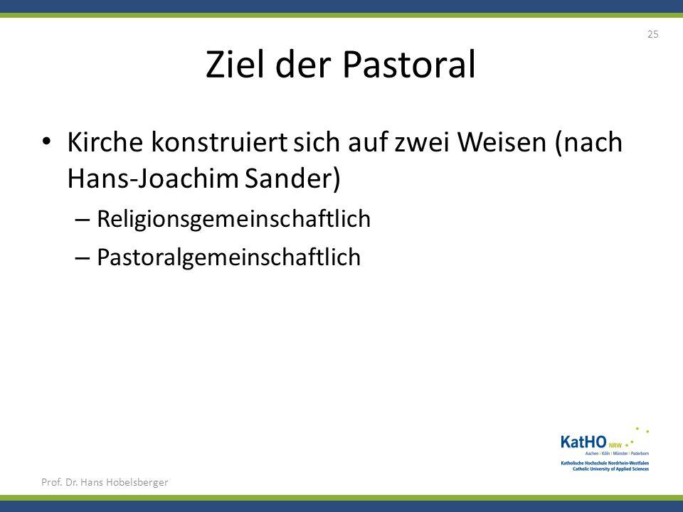 Ziel der Pastoral Kirche konstruiert sich auf zwei Weisen (nach Hans-Joachim Sander) – Religionsgemeinschaftlich – Pastoralgemeinschaftlich Prof. Dr.