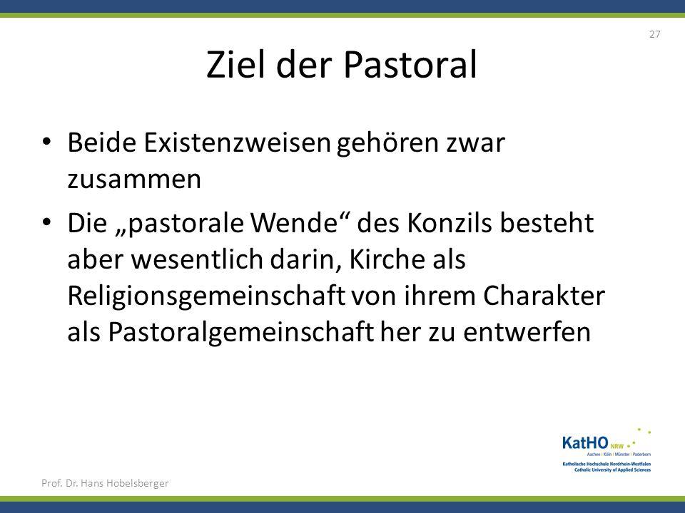 Ziel der Pastoral Beide Existenzweisen gehören zwar zusammen Die pastorale Wende des Konzils besteht aber wesentlich darin, Kirche als Religionsgemein