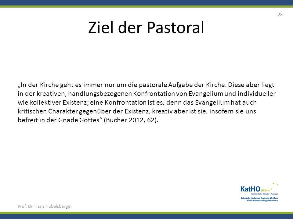 Ziel der Pastoral Prof. Dr. Hans Hobelsberger 28 In der Kirche geht es immer nur um die pastorale Aufgabe der Kirche. Diese aber liegt in der kreative