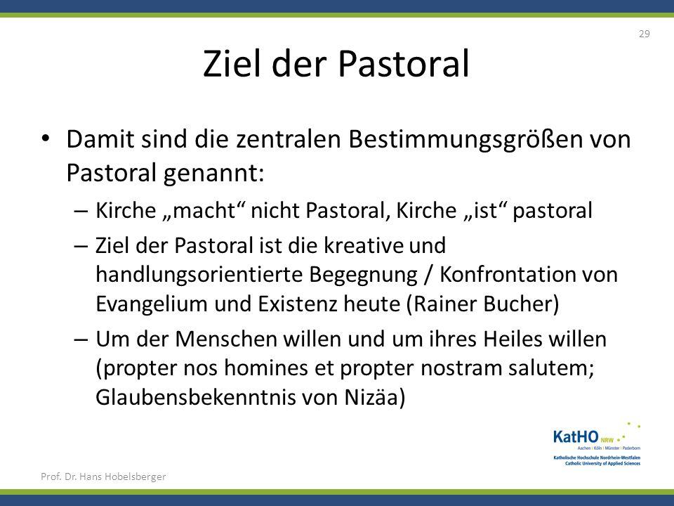 Ziel der Pastoral Damit sind die zentralen Bestimmungsgrößen von Pastoral genannt: – Kirche macht nicht Pastoral, Kirche ist pastoral – Ziel der Pasto