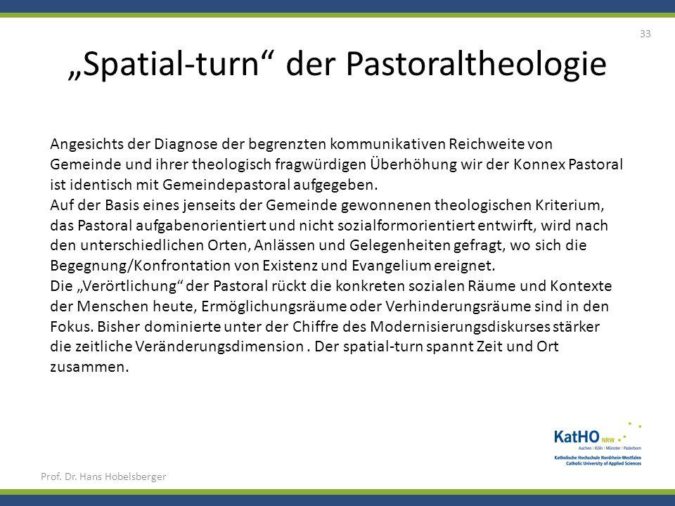 Spatial-turn der Pastoraltheologie Prof. Dr. Hans Hobelsberger 33 Angesichts der Diagnose der begrenzten kommunikativen Reichweite von Gemeinde und ih