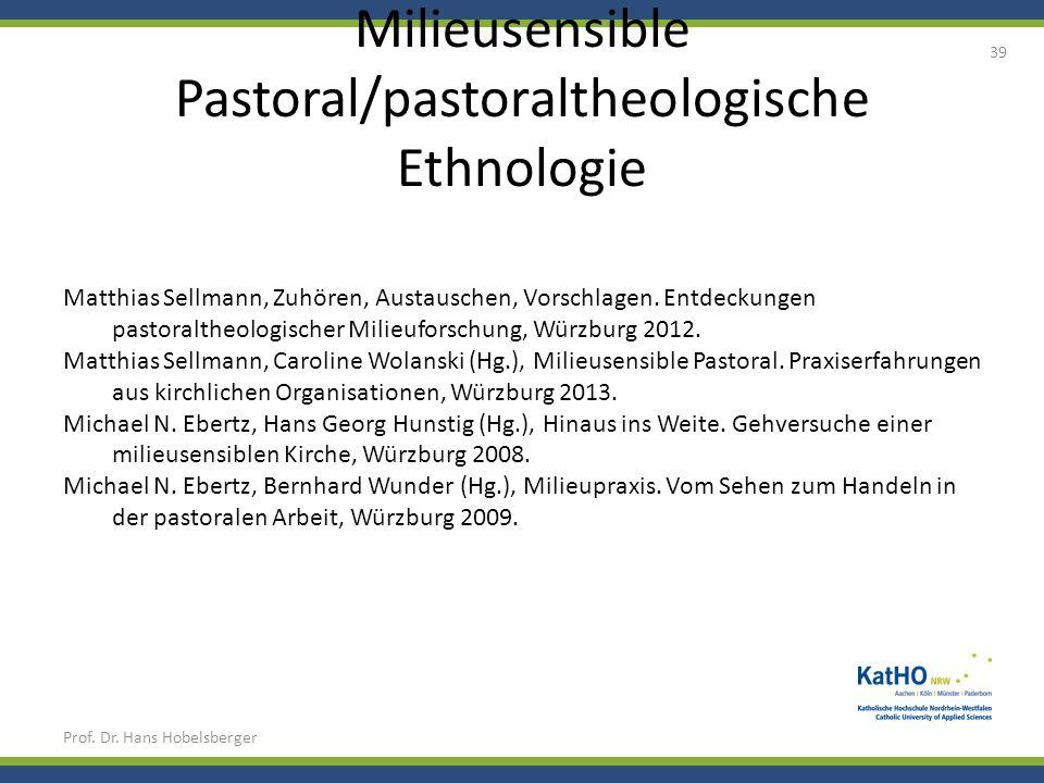 Milieusensible Pastoral/pastoraltheologische Ethnologie Prof. Dr. Hans Hobelsberger 39 Matthias Sellmann, Zuhören, Austauschen, Vorschlagen. Entdeckun