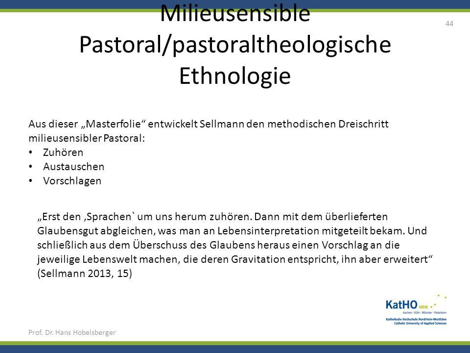 Milieusensible Pastoral/pastoraltheologische Ethnologie Prof. Dr. Hans Hobelsberger 44 Aus dieser Masterfolie entwickelt Sellmann den methodischen Dre