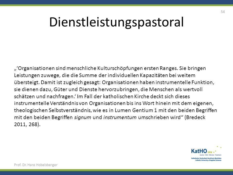 Dienstleistungspastoral Prof. Dr. Hans Hobelsberger 54 Organisationen sind menschliche Kulturschöpfungen ersten Ranges. Sie bringen Leistungen zuwege,