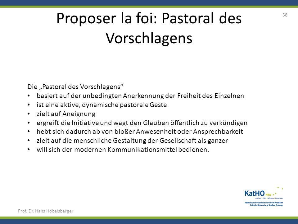 Proposer la foi: Pastoral des Vorschlagens Prof. Dr. Hans Hobelsberger 58 Die Pastoral des Vorschlagens basiert auf der unbedingten Anerkennung der Fr