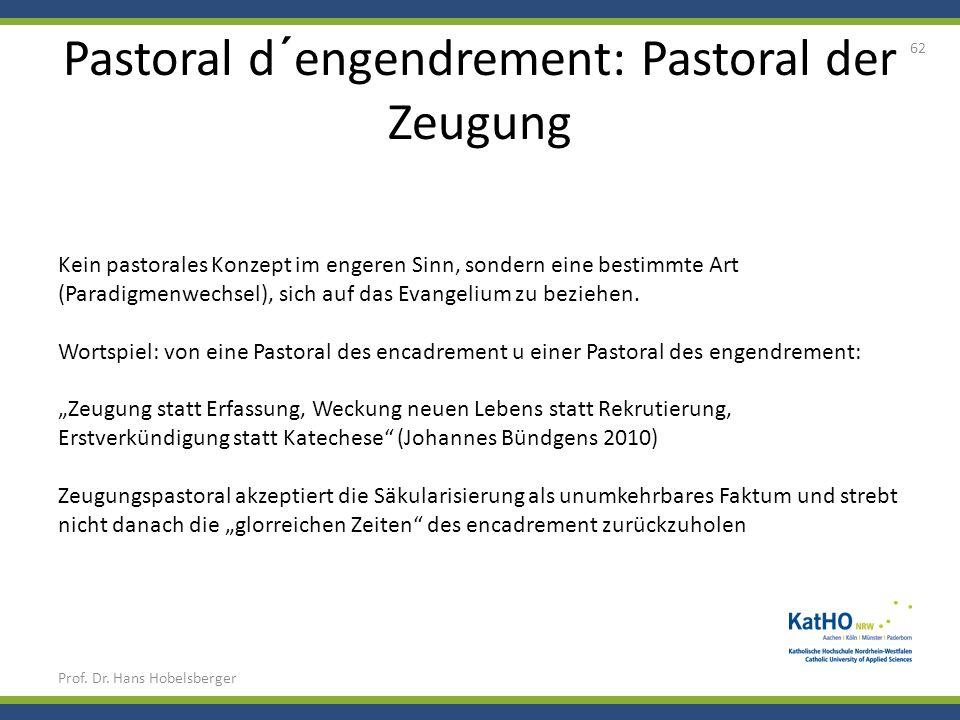 Pastoral d´engendrement: Pastoral der Zeugung Prof. Dr. Hans Hobelsberger 62 Kein pastorales Konzept im engeren Sinn, sondern eine bestimmte Art (Para
